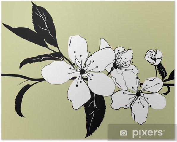 Plakat Oddział Kwitnienie wiśni - Drzewa
