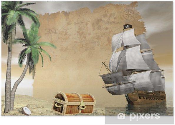 Plakat Odkrycie statek piracki skarb - 3d render -