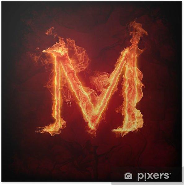 "Plakat Ogień litera ""M"" - Tekstury"