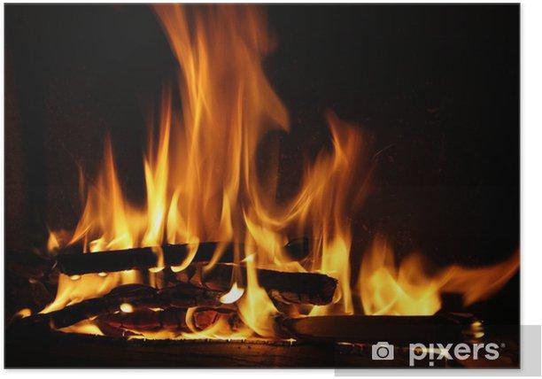 Plakat Ogień w kominku płomienie ognia na czarnym tle - Tematy