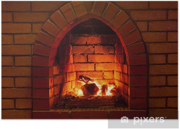 Plakat Ogień w kominku - Kominek
