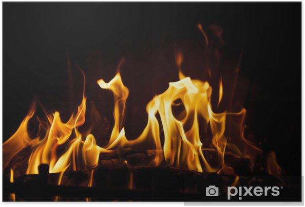 Plakat Ogień w kominku - Tekstury