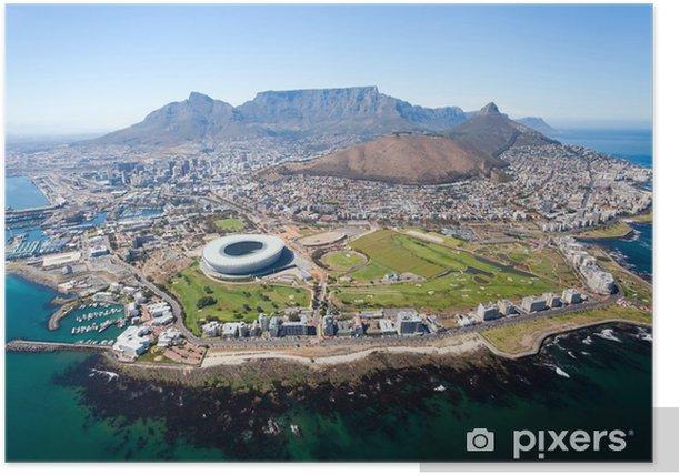 Plakat Ogólny widok z lotu ptaka od Cape Town, Republika Południowej Afryki - Przeznaczenia