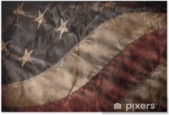Plakat Old american flag - Tematy