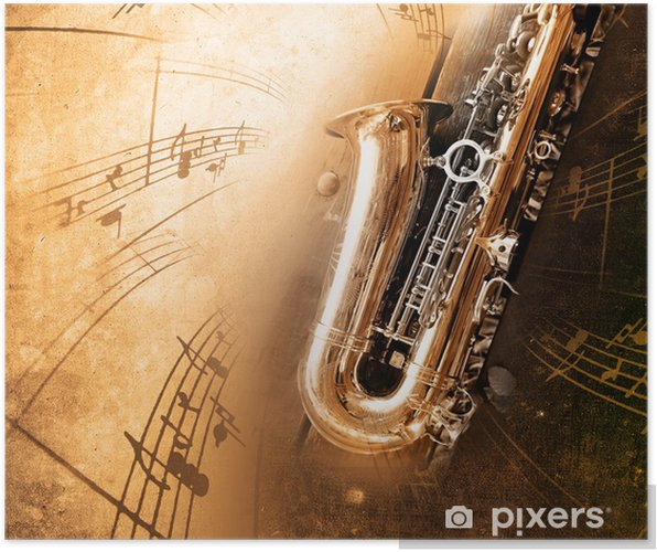 Plakat Old Saxophone z brudnym tle - Jazz