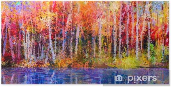 Plakát Olejomalba barevné podzimní stromy. semi - abstraktní obraz lesa 9979290be6