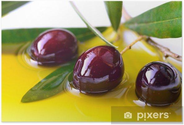Plakat Oliwa z oliwek i oddział oliwki zbliżenie, tło - Oliwki
