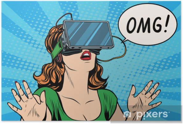 Plakat Omg emocje z wirtualnej rzeczywistości retro girl - Technologia