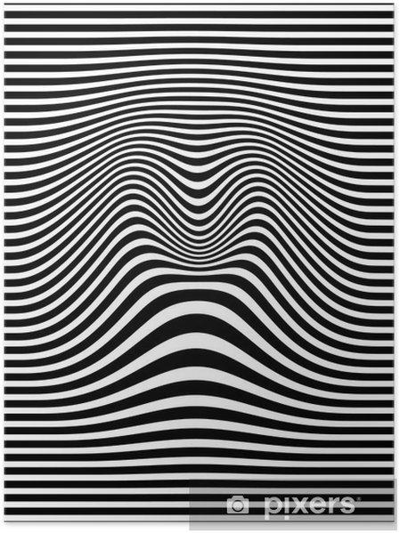Plakat Op-art streszczenie ilustracji geometryczny wzór czarno-biały wektor - Zasoby graficzne