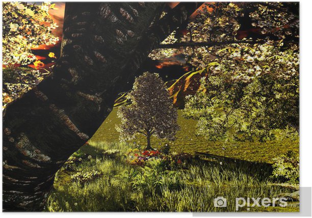Plakat Orchard wczesną wiosną - Natura i dzicz