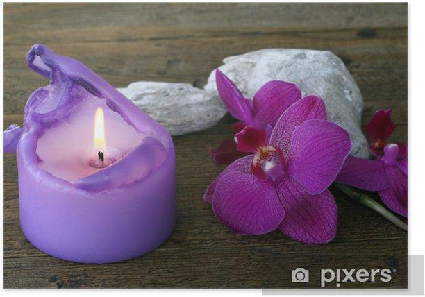 Plakat Orchidea i świeca - Kwiaty