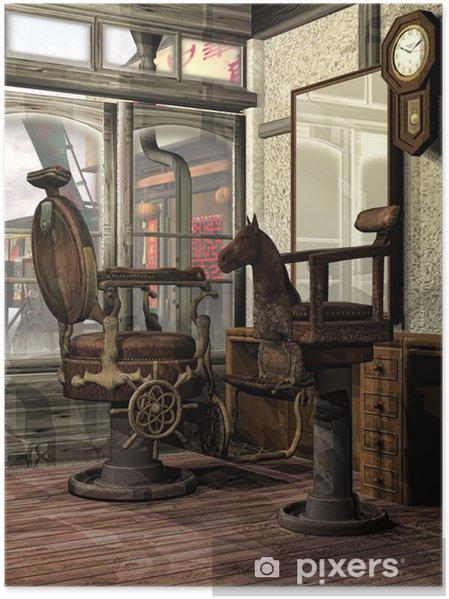 Plakat Orientalny Salon Fryzjerski Retro