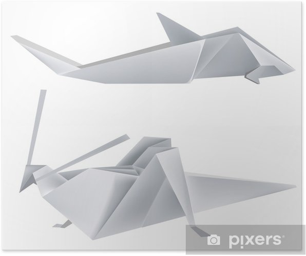 Plakat Origami_grasshopper_shark - Inne Inne