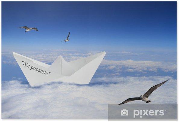 Plakat Origami łodzi pływających w chmurach - Znaki i symbole