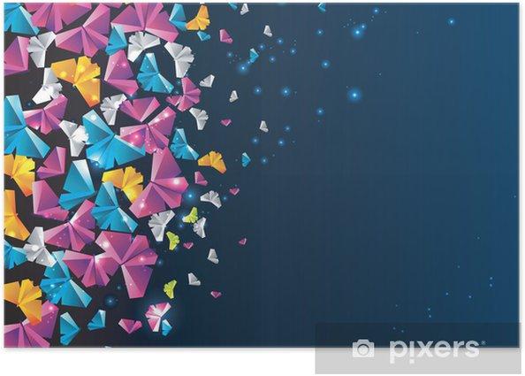 Plakat Origami streszczenie tle. Motyl papieru na niebie. - Inne uczucia