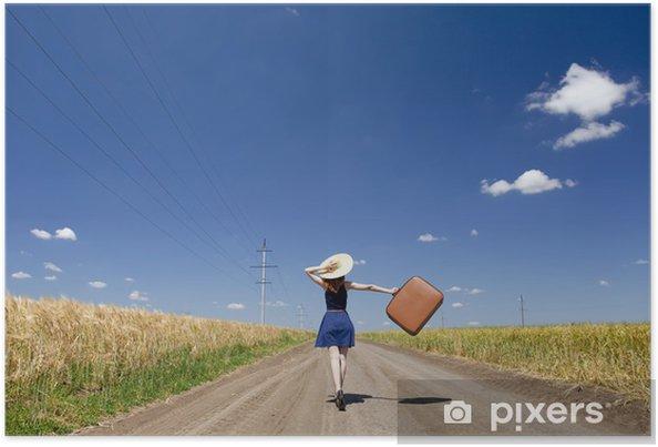 Plakát Osamělá dívka s kufrem na polní cestě - Prázdniny
