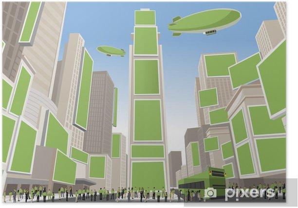 Plakat Osób noszących zielone ubrania na Times Square, Manhattan - Pejzaż miejski