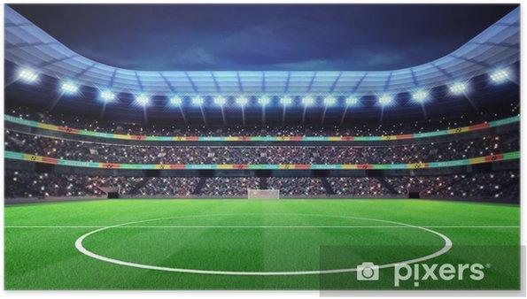 Plakat Oświetlony stadion piłkarski z kibicami na trybunach - Tematy