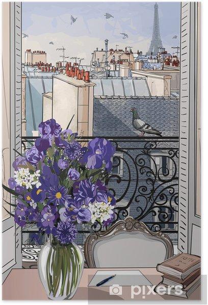 Plakat Otwarte okno na dachach Paryża -