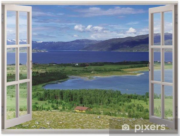 Plakat Otwórz okno widok na krajobraz z rzek, wzgórz i pól - Tematy
