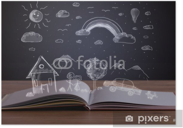 Plakat Otworzyć książkę z ręcznie rysowane krajobrazu - Edukacja