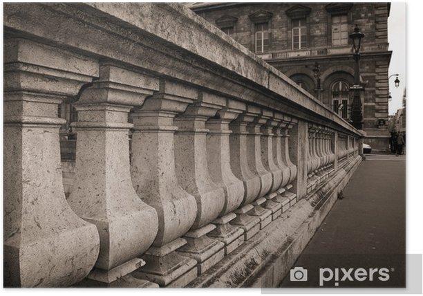 Plakat Owo kamiennych kolumnach na most w Paryżu - Miasta europejskie