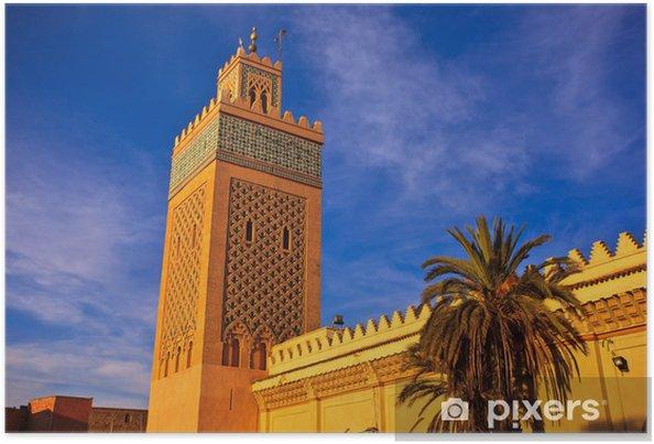 Plakát Ozdobený minaret mešity se zvedne z hradeb do modré oblohy v Maroku - Afrika