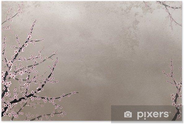 Plakat Ozdobne drzewo wiśniowe w trudnym tle z miejscem na tekst - Tła