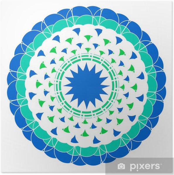 Plakat Ozdobne Koronki Okrągły Niebieski