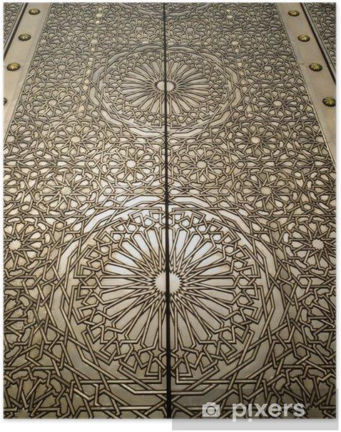 Plakat Ozdobny detal mosiądzu Meczet drzwi - Afryka