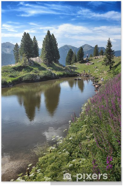 Plakat Paesaggio di Montagna con lago - Woda