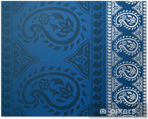 Plakat Paisley kwiatowy wzór, szablon ślub, Royal India - Style