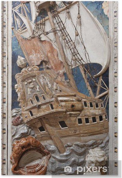 Plakat Palermo - barokowa płaskorzeźba sceny z proroka Jonasza - Europa
