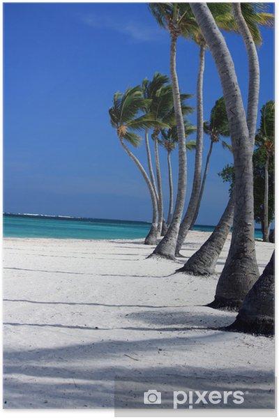 Plakát Palmiers sur plage déserte avec horizont stoupání: - Prázdniny