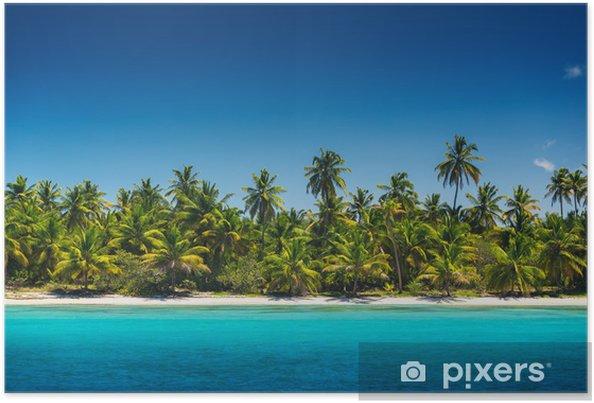 Plakat Palmy na tropikalnej plaży, Saona Island, Dominikany Republ - Wyspy