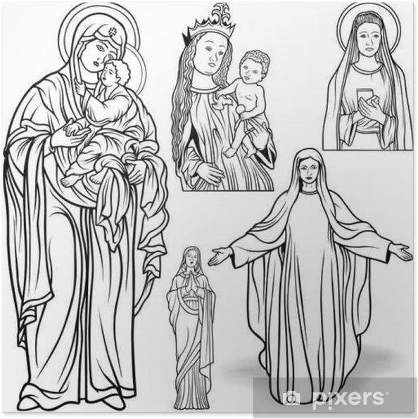 Plakát Panna Marie Set - Black and White Outlined ilustrace, Vector - Kultura a náboženství