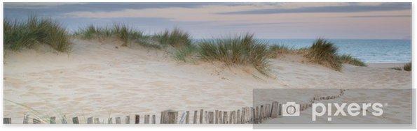 Plakat Panorama krajobraz systemu wydmy na plaży o wschodzie słońca - Tematy