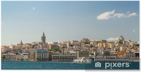 Plakát Panoráma města s Věž Galata přes Zlatý roh v Istanbulu - Město