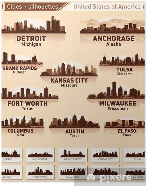 Plakat Panorama miasta ustawione. 10 miast USA # 4 - Ameryka