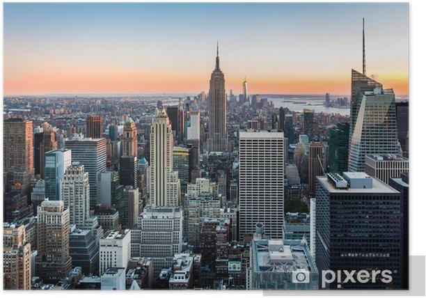 Plakat Panorama Nowego Jorku o zachodzie słońca -