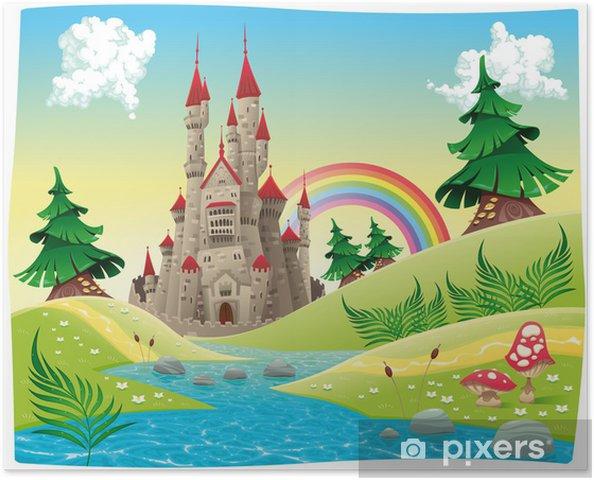 Plakát Panorama s hradem. Kreslený a vektorové ilustrace. - Pro školáka
