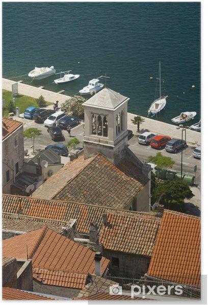 Plakat Panorama Sibenik dachy, wieża kościoła i wybrzeża - Europa