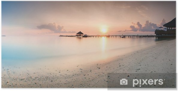 Plakat Panorama wschodu na Malediwach - Wakacje