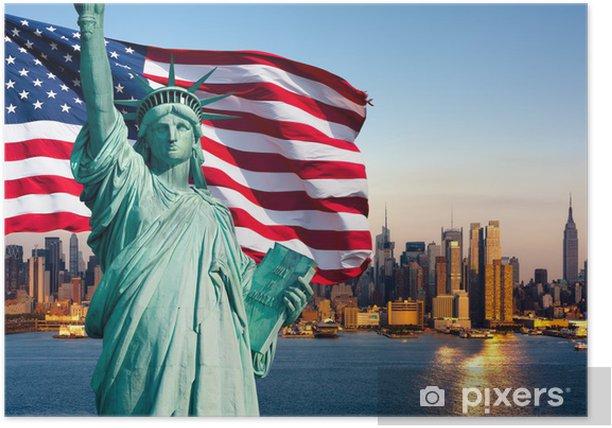 Plakat Panoramę Nowego Jorku, pomnik de la Liberte - Miasta amerykańskie