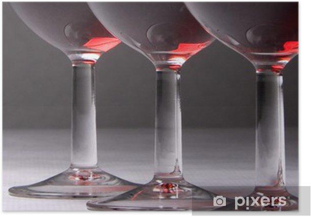 Plakat Panoramiczny obraz z trzech kieliszków wina. - Alkohol