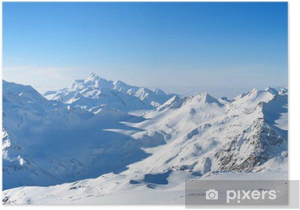 Plakat Panoramiczny widok na góry - Sporty zimowe