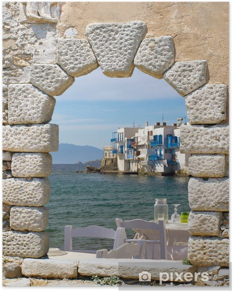 Plakat Panoramiczny widok z małej Wenecji na Mykonos, Grecja - Tematy