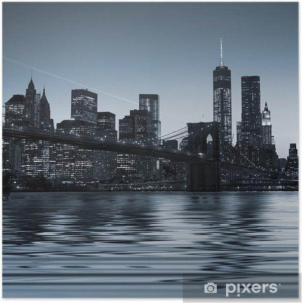 Plakat Panoramiczny widok z New York City Manhattan skyline w nocy w centrum miasta - Tematy