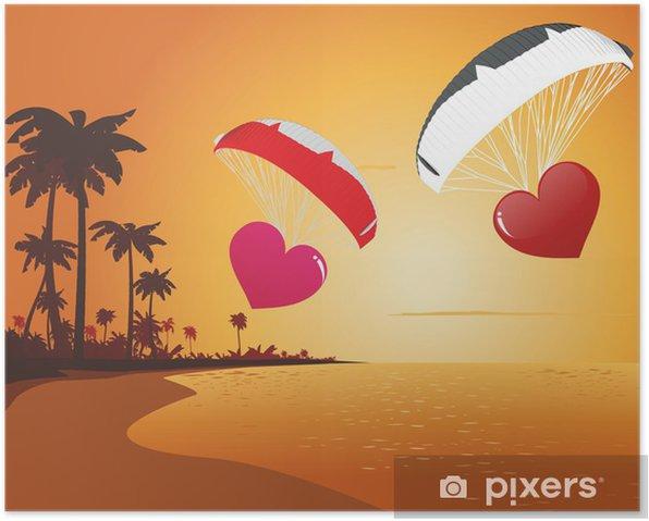 Plakat Paragliding serce - Wyspy