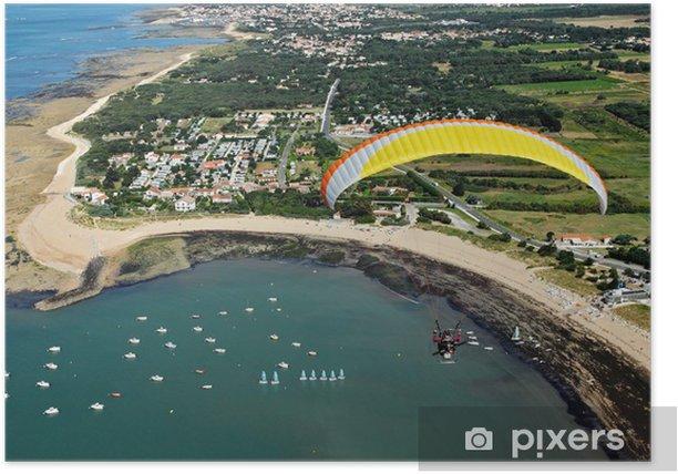 Plakat Paramotor latające nad zatoką Perroche - Sporty ekstremalne